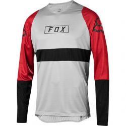Maillot manches longues FOX vtt Defend gris décor rouge bordeaux et noir