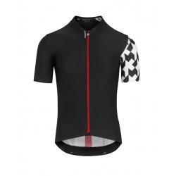 Maillot manches courtes ASSOS Equipe RS Aero noir décor blanc et rouge
