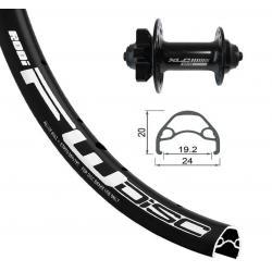 Roue à pneu avant 24p VELO vtt Rodi Black Disc/6 100 noir