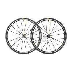 Roues à pneu 700 MAVIC route Ksyrium Pro UST Black 25 noire décor jaune