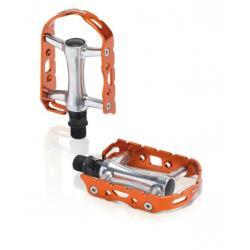 Pédales XLC alu route vtc vtt Ultralight PD-M15 argent contour orange