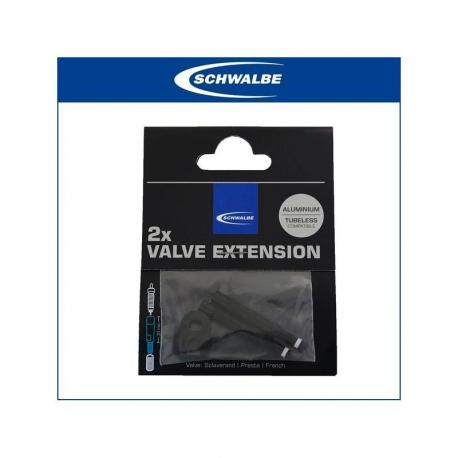 Prolongateurs de valve SCHWALBE alu Presta 65 noir