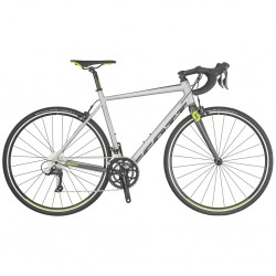 Vélo course alu SCOTT 2019 Speedster 30 Compact argent décor anthracite et vert néon
