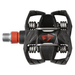 Pédales TIME carbon vtt gravel Atac MX8 plate-forme large noire décor rouge