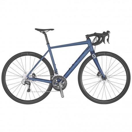 Vélo course alu SCOTT 2020 Speedster 20 Disc Compact bleu électrique décor bleu marine