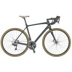 Vélo course carbon SCOTT 2020 Addict 10 Disc Compact carbon vert décor noir et gris