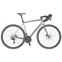 Vélo course carbon SCOTT 2020 Addict 20 Disc Compact argent mat décor noir et gris