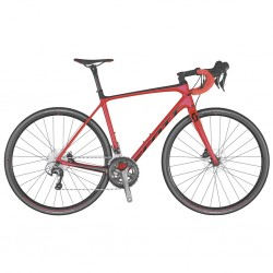 Vélo course carbon SCOTT 2020 Addict 30 Disc Compact rouge décor noir