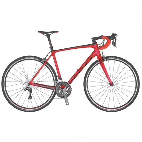 Vélo course carbon SCOTT 2020 Addict 30 Compact rouge décor noir