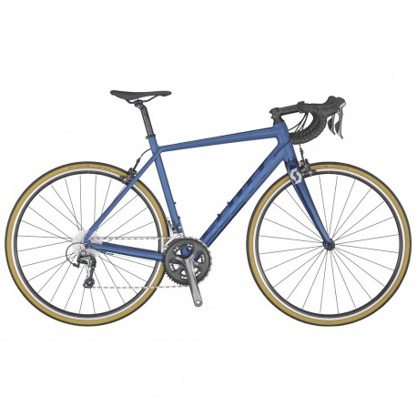 Vélo course alu SCOTT 2020 Speedster 20 Compact bleu électrique décor bleu marine