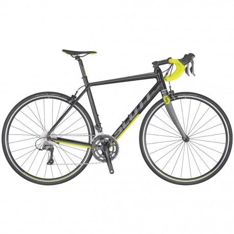 Vélo course alu SCOTT 2020 Speedster 40 Compact noir décor gris et jaune néon