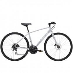 Vélo route alu femme 28p TREK 2020 fitness FX 2 WSD Disc gris mat QuickSilver décor blanc