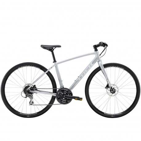 Vélo route fitness femme 700 alu - TREK 2021 FX 2 WSD Disc - Gris mat QuickSilver Décor blanc