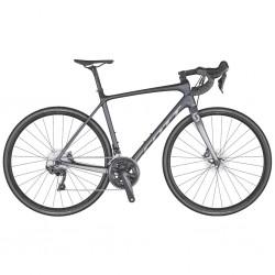 Vélo course carbon SCOTT 2020 Addict 10 Disc Compact carbon gris mat décor noir et argent