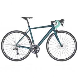 Vélo course femme alu SCOTT 2020 Contessa Speedster 35 Compact bleu nuit décor vert tilleul