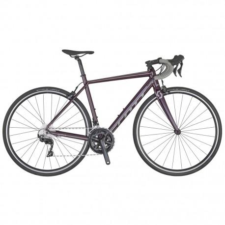 Vélo course femme alu SCOTT 2020 Contessa Speedster 15 Compact bleu nuit décor vert tilleul
