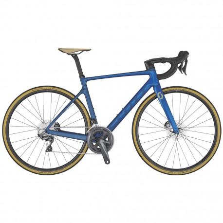 Vélo course carbon SCOTT 2020 Addict RC 30 Blue Disc bleu brillant décor gris mat et argent