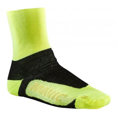 Chaussettes MAVIC hiver Essential Thermo + Safety jaune fluo décor noir