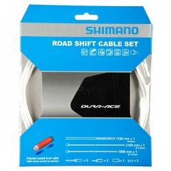 Cables+Gaine SHIMANO dérailleur route Dura-ace Blanc polymère
