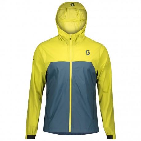Veste coupe-vent SCOTT vtt Trail Mountain jaune vert fluo décor bleu
