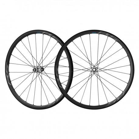 Roues à pneu 700 SHIMANO route RS770 C30 Disc CL 30 SH10/11v noire décor gris