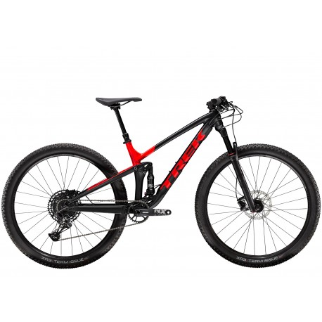 Vélo vtt 29 alu TREK 2020 Top Fuel 8 29 noir mat décor rouge brillant