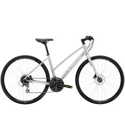 Vélo route alu femme 28p TREK 2020 fitness FX 2 WSD Stagger Disc gris mat QuickSilver décor blanc