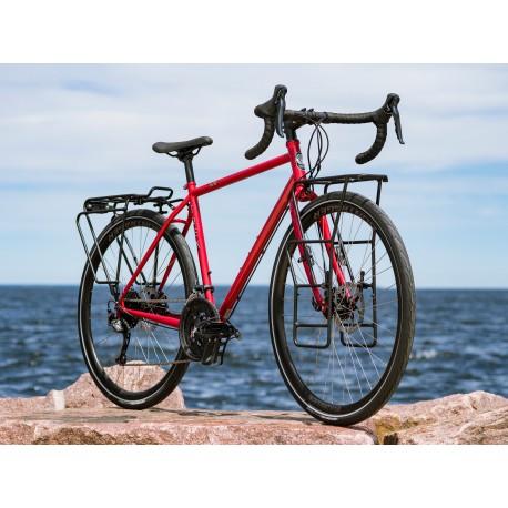 Vélo voyage acier 28p TREK 2020 520 Disc rouge Diablo décor blanc