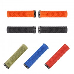 Poignées de guidon IBIS caoutchouc vtt Lock-On Grips Electric orange néon