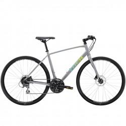 Vélo route alu TREK 2021 fitness FX 2 Disc gris gravier décor vert et jaune