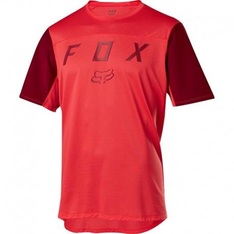 Maillot manches courtes FOX vtt Flexair Moth rouge décor bordeaux