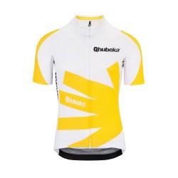 Maillot manches courtes ASSOS Qhubeka Moving Forward blanc décor jaune et noir