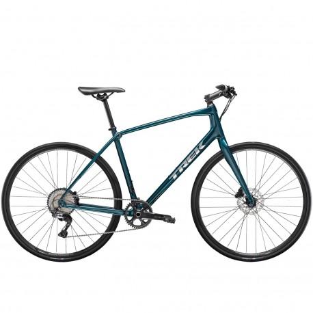 Vélo route 700 carbon TREK 2021 fitness FX Sport Carbon 4 Disc noir carbon aquatic décor argent