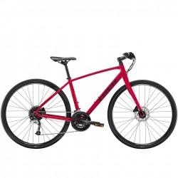 Vélo route fitness femme 28p alu - TREK 2021 FX 3 WSD - Rouge magenta décor noir