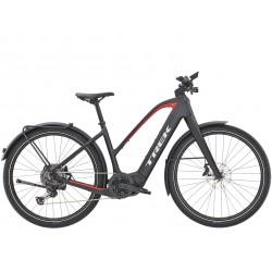 Vélo électrique route urbain 27.5p carbone - TREK 2021 Allant+ 9.9 Stagger 625 - Noir Carbon mat Décor rouge néon