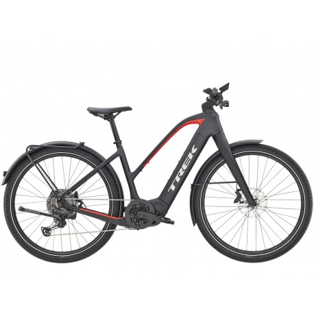 Vélo électrique route urbain 27.5p TREK 2021 carbon Allant+ 9.9 Stagger 625 noir carbon mat décor rouge néon