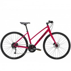 Vélo route alu femme 28p TREK 2021 fitness FX 3 WSD Stagger Disc rouge Magenta décor noir