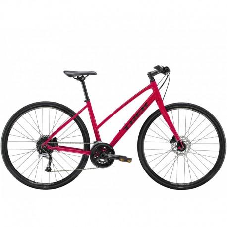 Vélo Route TREK 2021 Fitness FX 3 WSD Stagger Disc - Rouge Magenta / Décor noir - Roues de 28 pouces - Femme