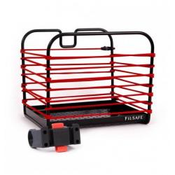 Panier avant ou arrière BAGSANDBIKE métal rigide FilSafe noir décor élastique de maintien Rouge