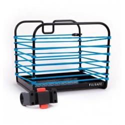 Panier avant ou arrière BAGSANDBIKE métal rigide FilSafe noir décor élastique de maintien Bleu
