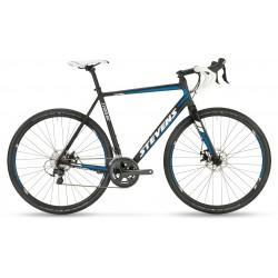 Vélo Gravel STEVENS 2020 Tabor - Gris foncé / Décor blanc et bleu électrique