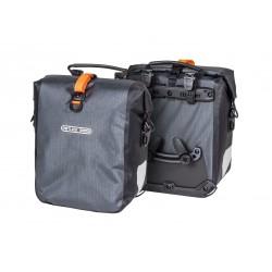 Sacoches ORTLIEB avant ou arrières latérales Gravel Pack F9981 ardoise décor orange