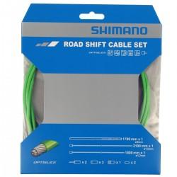 Cables+Gaine SHIMANO dérailleur route Optislik Vert