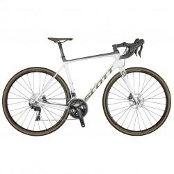 Vélo course carbone 700 - SCOTT 2021 Addict 20 Disc Compact - Blanc décor pailleté et noir