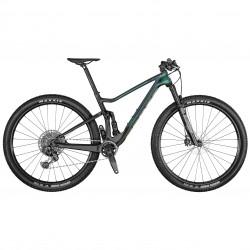 Vélo VTT 29 carbone - SCOTT 2021 Spark RC 900 Team Issue AXS PRZ - Vert d'eau reflet violet décor noir