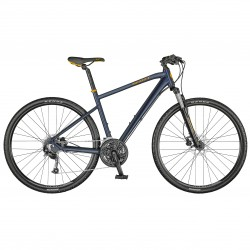 Vélo VTC Homme 28p alu - SCOTT 2021 Sub Cross 40 Men - Bleu nuit décor orange