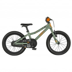 Vélo VTT garçon 3 à 6 ans 16p alu- SCOTT 2021 VTT Roxter 16 Rétro - Vert amande décor dessins orange et noir