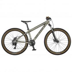Vélo enfant 10 à 13 ans, garçon, alu SCOTT 2021 VTT Roxter 26 Disc gris champagne décor noir hachuré