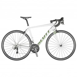 Vélo course alu 700 - SCOTT 2021 Speedster 20 - Blanc décor vert pailleté reflet orange
