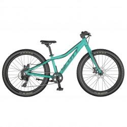 Vélo enfant 9 à 12 ans, alu SCOTT 2021 VTT Roxter 24 bleu turquoise décor noir hachuré